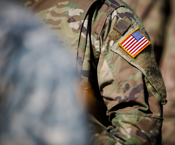 Soldier with USA Flag