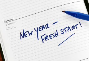 New year fresh start message written on paper