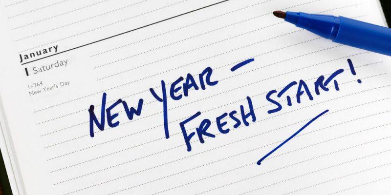New year fresh start message written on paper
